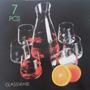 Set X7 Vasos Botella Decantador 6 Copones Copa Sin Tallo Pie