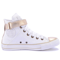 Tênis Converse All Star Ct As Brea Leather Hi Branco Ouro Cl