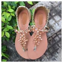 Rasteirinha Baixa Pedra Calcanhar Fechado Marca Leluel Shoes