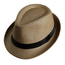 Nuevo Sombrero Unisex Fedora Tipo Paja Importado Color Paja