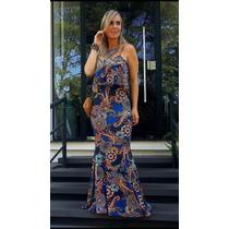 Vestido Longo Alca Com Fenda Lateral Moda Blogueira Estampad