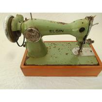 Maquina De Costura Elgim Antiga Com Caixa De Madeira