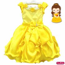 Vestido Bela E A Fera Princesa Luxo Infantil Com Luvas Coroa