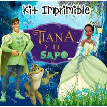 2x1 Kit Imprimible Tiana Y El Sapo Invitaciones Tarjetas