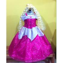 Vestido Disfraz De Princesa Aurora. Paquete Con Peluca.