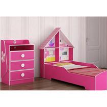 Cama Casa E Cômoda Angelina Pink Ploc Jogo Juvenil Gelius