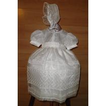 Ropon Bautizo Vestido Blanc Niña 1- 2 Años Exclusiva Organza