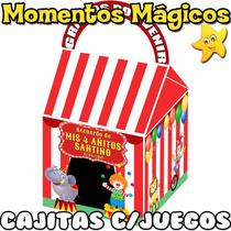 10 Cajitas Souvenirs Circo Valijita Golosinera + 7 Juegos