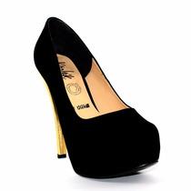 Zapatilla Pump Makrid Zapatos Mujer Negro Y Dorado