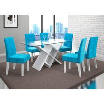 Jogo De 6 Cadeiras Azul Estofadas A Mesa Não Acompanha - Dj