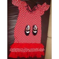 Vestido Zapatos De Flamenco Niña Sevillana Española Disfraz