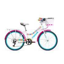 Bicicleta Mercurio Capressi Con Canasta 6 Velocidades R24