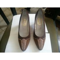 Zapato De Mujer Gamuza Marron Con F