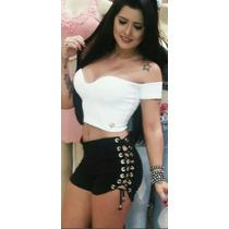Shorts Bengaline Ilhos Lateral Cordão Laço Cintura Alta Moda