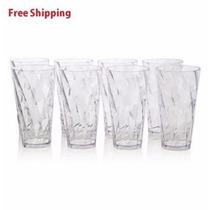 Juego De 8 Vasos De Plástico Transparente Optix 20 Oz.