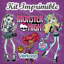2x1 Kit Imprimible Monster High Marcos Tarjetas Invitaciones