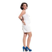 Shorts Meia Coxa Haiti Branco P/m - Moda Gestante Due Vita