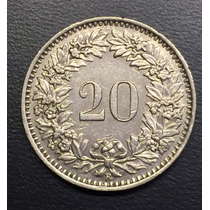Swi243 Moneda Suiza 20 Rappen 1955 Vf-xf Ayff