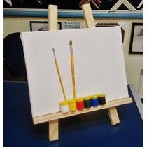 Cavalete De Mesa+ Kit De Pintura Infantil+tela+piceis+tintas