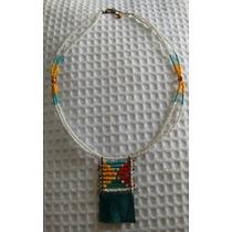 Collar Colgante Mostacillas Doble Cuero Cierre Metal Bijoux