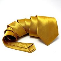 7 Pcs Gravata Dourada Tradicional De 7,5cm De Largura