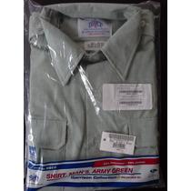 Camisa Militar Dscp Quarterdeck Collection Color Verde Claro