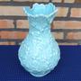 Vaso Cerâmica Portuguesa Flores Relevo Rice Feito Mão B10887