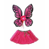 Disfraz De Mariposa Monarca Rosa Alas Y Tutu Para Niña Mujer
