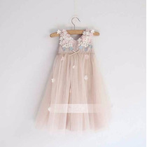Vestido Infantil Niña Con Encaje Y Delicado Decorado Floral