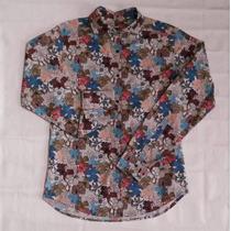 Camisa Floreada Jo Black - M/largas - Slim Fit Elastiz. - M