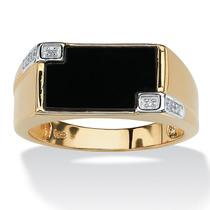Anillo Diamantes Oro 18k Sobre Plata Hombre Tamaño 10 Ónix