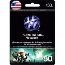 Tarjeta Gift Card Psn Americana $50 Usd Ps4 Ps3 Envio Gratis