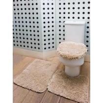 Kit Tapete De Banheiro 3 Peças 100% Algodão Macio - Corttex