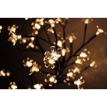 Árvore Abajur Decoração Flor Cerejeira Led Branco Quente