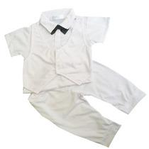 Roupa Festa Batizado Branco Terno Gravata Social Infantil