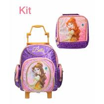 Kit Mochila Rodinhas M + Lancheira Princesas Bella Disney