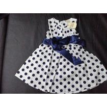 Vestido Branco C Bolas Azuis Algodão - Infantil