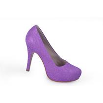 Scarpin, Sapato Renda Lilás Ideal Para Noivas! Lindo!!!