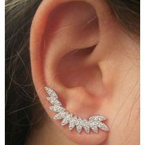 Brinco Ear Cuff Folhas Ródio Branco. Super Tendência!