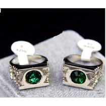 Fino Anillo Clásico Hombre Con Diamante De Imitacion Verde !