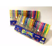 Caneta Colorida Gel Com Glitter 24cores Kit Escolar Neon