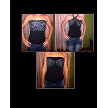 Franela Top Multiforma Negro Stretch Casual Ropa Dama Camisa