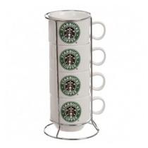 Tazas Starbucks 4 Pocillos Cafe Juego Con Rack Nespresso