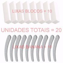 Kit Lixas Banana E Bloco Unha, Gel, Unha De Porcelana Gel