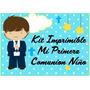 Kit Imprimible Comunion Niño Tarjetas Candy Bar Cotillon 3x1