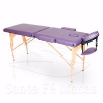 Mesa Maca Massagem Dobrável Divã Portátil Estética Lilás Esc
