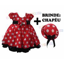 Vestido Fantasia Minnie Infantil Festa - Brinde Chapéu Minie