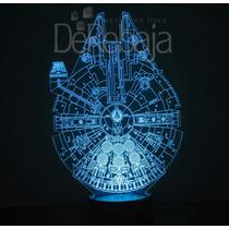 Lampara Led 3d Rgb Acrilico Halcon Milenario Star Wars