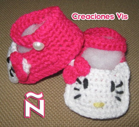 Zapatitos Hello Kitty Bebé Tejidos A Mano Crochet Varios Mod ...