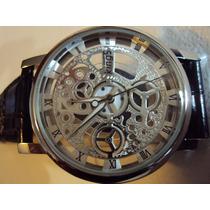 Hermoso Reloj Kings Tipo Skelleton Maquina De Cuarzo Extpiel